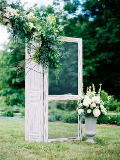 Spring, doorway arbor, green and white florals // Blue Bend Photography