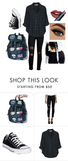 """school outfit"" by kluck-k ❤ liked on Polyvore featuring Disturbia, Current/Elliott, Converse, Xirena and Fiebiger"