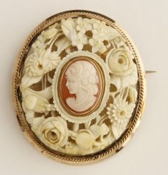 Large Rolled Gold Brooch, late 19th c., with a central cameo mounted on a…
