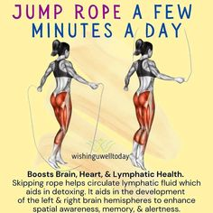 """Health, Fitness & Nutritionist on Instagram: """"✅ If you need an energy boost, clearing, or increased mental alertness, jump rope is one of the best exercises- energetically it balances…"""" Everyday Workout, Skipping Rope, Right Brain, Health Facts, Fitness Motivation, Health Fitness, Good Things, Exercises, Instagram"""