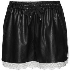 Carmakoma Black / White Plus Size Lace embellished faux leather shorts ($87) ❤ liked on Polyvore featuring shorts, black, plus size, elastic waistband shorts, womens plus size shorts, white faux leather shorts, lacy shorts and short shorts
