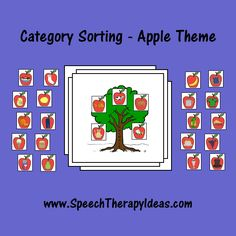 Category Sorting - Apple Theme. Repinned by SOS Inc. Resources. Follow all our boards at pinterest.com/... for therapy resources.