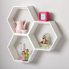 Honeycomb Wall Shelf (White)  | LandOfNod You can put different patterned fabric in the back for the shelf for more color! Cute