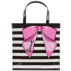 Harrods Small Striped Bow Shopper Bag (€30) ❤ liked on Polyvore featuring bags, handbags, tote bags, white purse, stripe purse, harrods bag, striped bag and bow handbag