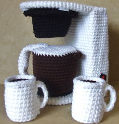 """Coffee maker finishes to about 6.5"""" tall, depending on size of hook and weight of yarn used."""