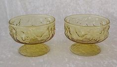 $8.00 Vintage Anchor Hocking Milano Amber Glass Footed Dessert Sherbert Bowl-Set of 2
