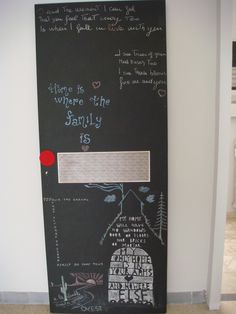 Old style door painted with chalkboard paint, in my livingroom
