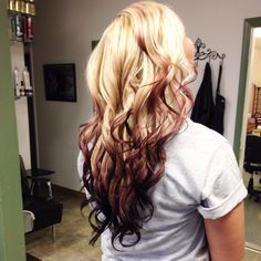 Ombre faded reverse blonde redbrown hair by Whitney Mccurdy