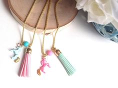 Unicorn Necklace Pink/Blue Unicorn by sherbetwithsprinkles on Etsy