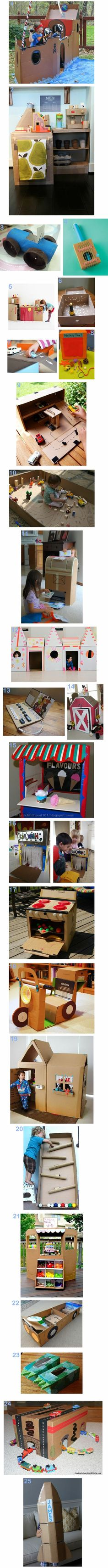 25 Ideas for cardboard boxes! I like the one that's second from the bottom.