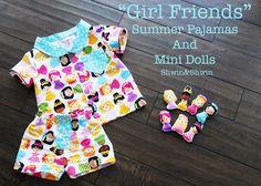 """Best Friends"" Summer Pajamas {Free Pattern} and mini dolls from shwinandshwin.blogspot.com"