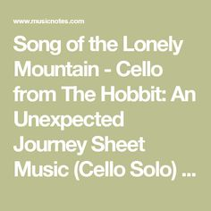 Song of the Lonely Mountain - Cello from The Hobbit: An Unexpected Journey Sheet Music (Cello Solo) in F# Minor