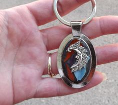Mosaic Stained Glass Moon Keychain by PiecesofhomeMosaics on Etsy, $12.00
