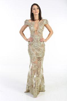 Aluguel Patricia Bonaldi - Dourado em Renda - Vestidos - Aluguel de Vestidos