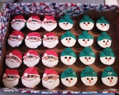 Santa and Frosty the snow man cupcakes made by Sugar & Spice Cupcakes