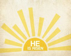 He is Risen printable for Easter  (Try as craft, canvas, use tape & vinyl letter, paint over.)  heidi stock | design and stuff: freebie