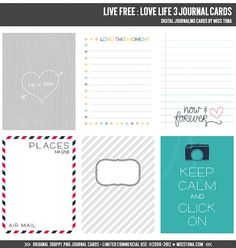 Live Free : Love Life 3 Digital Journal Cards - 3x4 project life inspired scrapbooking journaling note cards  - instant download - CU OK