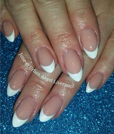 French gel polish almond shaped nails