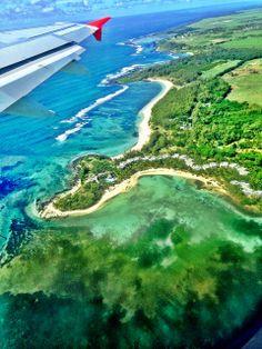 View of Blue Bay Marine Reserve and Beachcomber Shandrani Resort from the plane - Mauritius