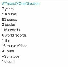 I can't believe this is the 7th year of ONE DIRECTION and true directioners are still here. I'm so proud of you boys. #7yearsOfOneDirection❤️❤️❤️❤️❤️