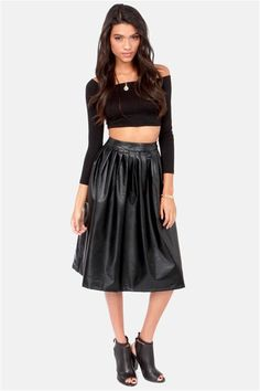 7182036bcc11b Black Vegan Leather Midi Skirt
