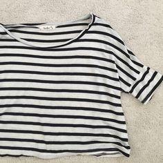 Stripe crop top Black and white stripe crop top. Label is Tres Bien. Loose fit Tres Bien Tops Crop Tops