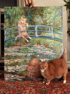 "Majestic subject with it's painting. Zarathustra stands in front of Svetlana Petrova's interpetation of ""bridge over a pond of water lilies."""