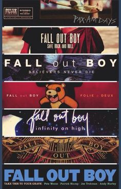 Favorite Fall Out Boy album? I like a lot of their new songs and their two new albums too. Really all of their albums are my favorite, but if I had to choose. Emo Bands, Music Bands, Rock Bands, Music Love, Music Is Life, My Music, Save Rock And Roll, Hardcore, Indie