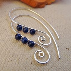 Blue Spiral Earrings Handmade with Lapis Lazuli and by Perfections