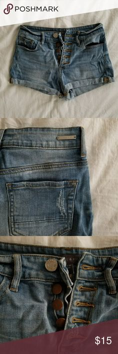 """Kendall & Kylie High Waisted Jean Shorts size 1 EUC high waist shorts by Kendall & Kylie  All """"worn"""" spots original, lightly used only a handful of times, no signs of wear. Super cute with button-up closure. Size 1  Keywords: Pacsun high-rise hi-rise highwaisted Kendall & Kylie Shorts Jean Shorts"""