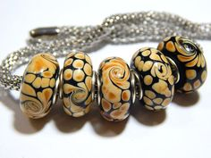 5x  Murano Glass Beads  Black With Peach Swirl by MURPHYSTREASURES, $7.95