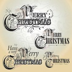 Christmas Text Vintage Digital Papers Designs Retro Heritage Template Black Clip Art Xmas Typography Graphics DIY Make Your Own Cards 10051 Christmas Text, Diy Christmas Cards, Christmas Clipart, Xmas Cards, Vintage Christmas, Christmas Letters, Merry Christmas, Xmas Clip Art, Christmas Typography