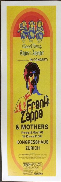 Frank Zappa Reproduction 6'x18' Retro Concert Poster // Half Sheet by POsterMOdern on Etsy