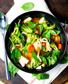 Veggie Miso Udon Soup - packed with steamed veggies cubed silken tofu a healthy dose of miso and stars robust udon noodles. Asian Recipes, Real Food Recipes, Soup Recipes, Vegetarian Recipes, Cooking Recipes, Healthy Recipes, Healthy Dinners, I Love Food, Good Food