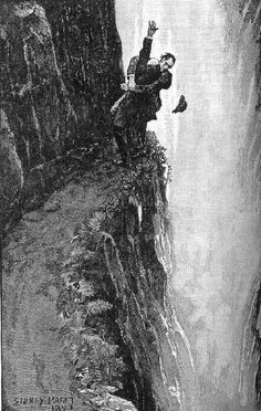 """Mark Tansey's """"Derrida queries de Man,"""" an altered version of Paget's famous sketch of Holmes & Moriarty grappling atop Reichenbach Falls"""