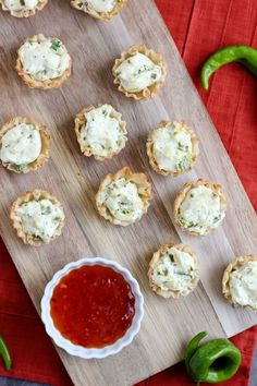 A fun new take on the loved jalapeno popper - flavorful jalapeno cream cheese mixture is stuffed into fillo cups and served with sweet chili sauce.