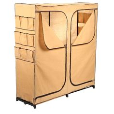 Honey Can Do 64 In. H X 60 In. W X 19.7 In. D Double Door Portable Closet  With Shoe Organizer In Natural