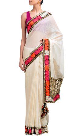 White dhakai sari with embellished pallu Sabyasachi Mukherjee http://www.perniaspopupshop.com/designers-1/sabyasachi