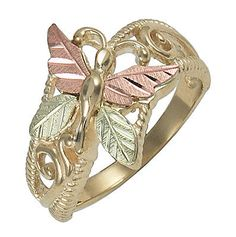 10K-Black-Hills-Gold-Ladies-Butterfly-Ring-Size-4-to-10