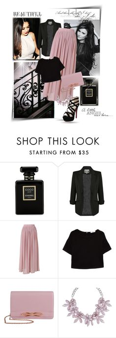 """Fashion with Nina Dobrev"" by tess-302 ❤ liked on Polyvore featuring Chanel, Chicwish, MANGO, Ted Baker, sweet deluxe, paris, skirt, fashionWeek, NinaDobrev and long"
