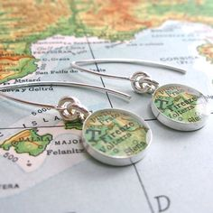 Firenze Italy Modern Vintage Map Dangle Earrings. by dlkdesigns #italy