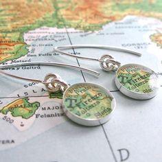 Firenze Italy Modern Vintage Map Dangle Earrings by dlkdesigns, $46.00