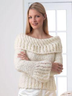 Lacework Sweater - Free Knitted Pattern - (yarnspirations)
