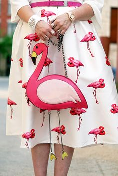 Winnipeg Canadian Stylist Fashion Consultant, Chicwish flamingo midi skirt, Pink Flamingo dangly legs bag