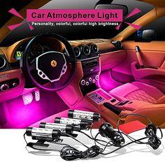 4x 3LED Обязанность Автомобиля 12 В 4 Вт Путь Освещение Glow Салона Декоративные 4in1 Атмосфера Синий Свет Лампы Атмосфера Внутри ноги BJ