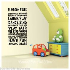 PLAYROOM RULES BOY'S, GIRLS, WALL STICKER VINYL ART DECAL BEDROOM NURSERY - XL