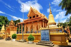 Gorgeous pagoda gleams golden in the midday sun in Battambang, Cambodia Bali Travel, Thailand Travel, Japan Travel, Malaysia Travel, Singapore Travel, Cambodia Travel, Vietnam Travel, Laos, Battambang Cambodia
