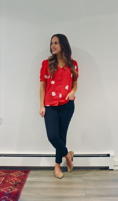 September Outfits Week Two Jules in Flats – Red Floral Button Front Blouse (Business Casual Workwear on a Budget) Women Business Attire, Business Formal Women, Formal Business Attire, Business Professional Outfits, Business Fashion, September Outfits, Floral Dress Outfits, Interview Attire, Sweater Dress Outfit