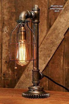 Steampunk-Lamp-Industrial-Machine-Age-Steam-Gauge-Light-Train-Nautical-Loft-Gear