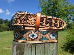 Custom Beaded Belts | custom leather belt tapered leather belt two tone leather belt beaded ...